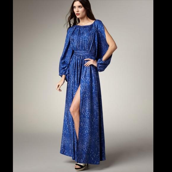 Rachel Zoe Dresses | Womens Blue Olivia Leopard Print Gown | Poshmark